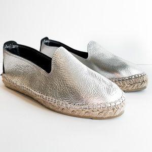 Manebi Silver Hamptons Espadrilles Leather Slip On